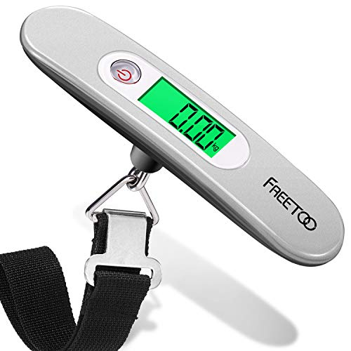 FREETOO Portable Digital Luggage Scale Hanging Suitcase Scale with Tare Function 110 lb/ 50KG Capacity Grey