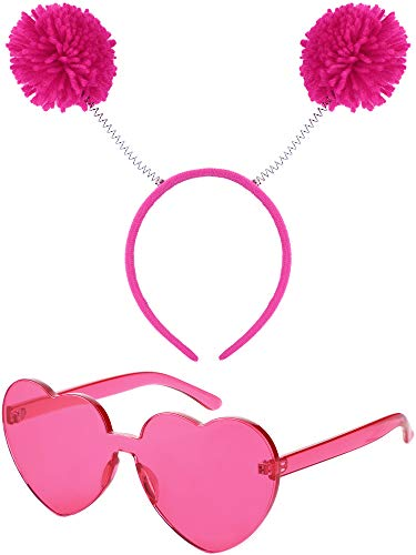 WILLBOND 2 Pieces Heart Shape Sunglasses Rimless Sunglasses and Pom Pom Head Bopper for Party Favors, Rose Red
