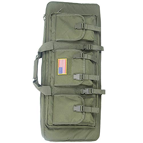 Paladins Gun Case Rifle Bag Double Rifle Case with Magazine Pockets 32/48 inch (GREEN-32INCH)