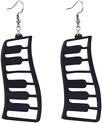 coadipress Black Piano Earrings for Women Girls Unique Funny Music Grand Pianos Keyboard Symphony Acrylic Dangle Drop Earrings Jewelry