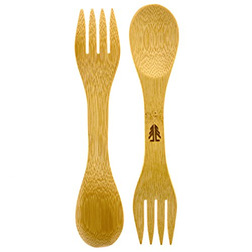 Forestry Labs Bamboo Sporks - Pack of 4 - Simply 100% Bamboo Eating Utensils - 6.5 inches Long