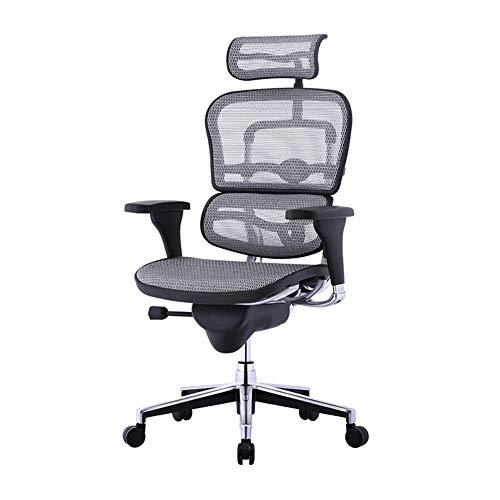 Silla de oficina escritorio Silla de Oficina ergonómica Silla Ergonómica,Home Comfort Silla de malla para oficina Patas de silla de aluminio pulido-silver