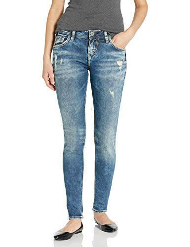 Silver Jeans Co. womens Kenni Girlfriend Relaxed Skinny Jeans, Medium Marble Wash, 30W x 27L US
