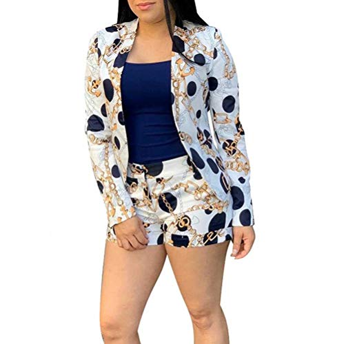 Women Casual Two Piece Outfits Long Sleeve Chain Print Blazer Shorts Set Workout Party Night Tracksuit White 2XL