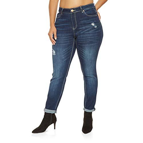 FightLY Pantalones Vaqueros para Mujer, Talla Grande, Cintura Alta, Circunferencia de Cadera, Cintura elástica, Cintura elástica, Circunferencia Lavada Je - - 6X-Large