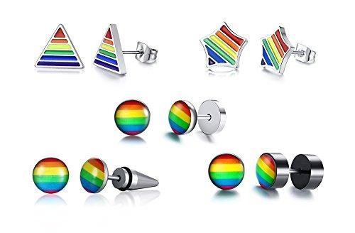 VNOX 5 UNIDS Triángulo Arco Iris de Acero Inoxidable Dot Star Stud Pendientes Gay Orgánica Orgullo Joyería