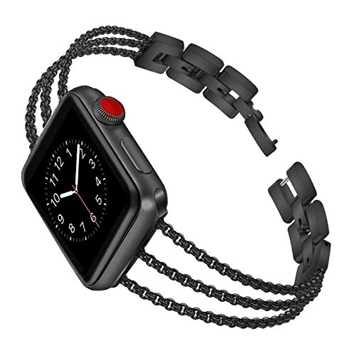Biaoge Metal Bands Compatible for Apple Watch Band Series 4 5 6 SE 40mm 44mm iWatch Series 3 2 1 38mm 42mm, Wristband Strap Cuff Bangle Bracelet
