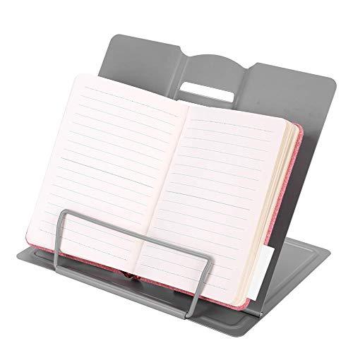 Portalibros de metal con soporte para lectura/iPad/libro de cocina/revista, ajustable, 6 posiciones, atril de lectura, sujetalibros, organizador duradero para oficina o cocina, color gris