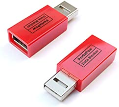 PortaPow USB Data Blocker (Red 2 Pack) - Protect Against Juice Jacking