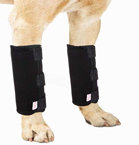 Attelle de jambe avant pour chien – Bandage de compression pour chien qui protège les plaies et le soutien à cause de l'arthrite pour éviter les blessures et les entorses (1 paire, S)