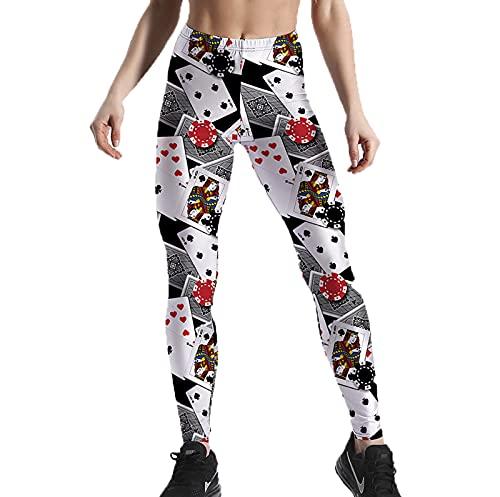 Leggings Estampados para Hombre para Mujer Pantalones de Cintura Alta elásticos de póquer para Jugar a Las Cartas