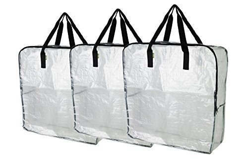 DIMPA Pack of 3 - Extra Large Clear Storage Bag for Clothing Storage, Under the Bed Storage, Garage Storage, Recycling Bags