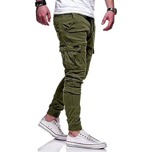 Overdose Pantalones Hombre Pantalón Deportivo De Color Puré con Vendaje Casual Pantalones Sueltos con Cordón Pantalon Baggy Hombre Original