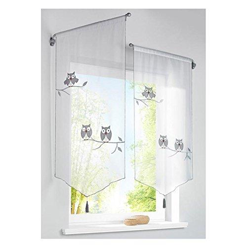 KOU-DECO Bistrogardine Weiss 2er Pack Transparente Voile Tunnulzug Raffrollo mit Eule Stickerei für Kinderzimmer (40x90cm)