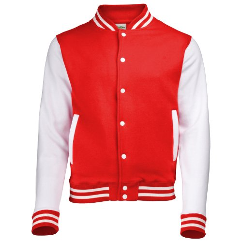 AWDis Hoods Varsity Letterman jacket Fire Red / White L
