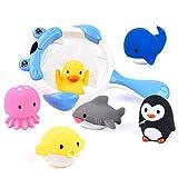 JoyGrow お風呂 おもちゃ 水遊びおもちゃ赤ちゃん 子供 シャワー かわいい 動物すくい 噴水 お風呂 魚網 アヒル クジラ ペンギン 7個セット (ブルー)