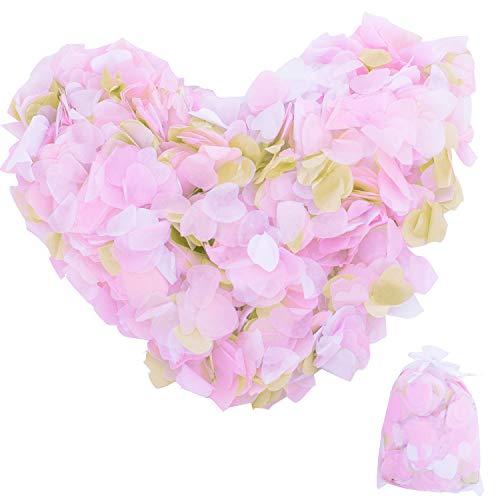 YIRANFANTASY 7000 Piezas de Confeti de Papel en Forma de corazón para Mesa de Seda, Confeti Biodegradable, para Boda, cumpleaños, Fiesta, Aniversario, 1 Pulgada, 4 Colores