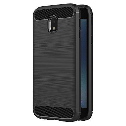 AICEK Funda Samsung Galaxy J3 2017, Negro Silicona Fundas