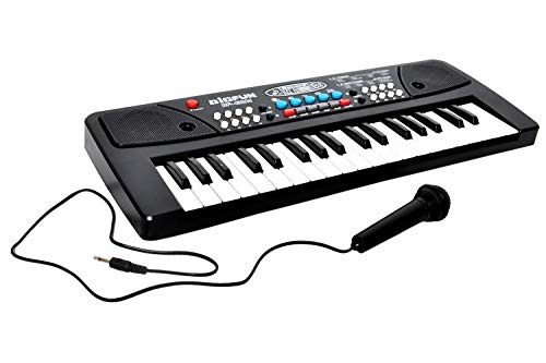 evrr Piano with dc Output, Mobile Charging, USB and Microphone Included, Black- Multi Color (37 Keys)