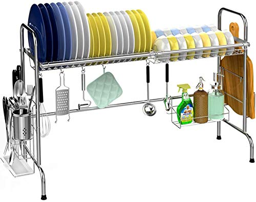 Veckle Over The Sink Dish Drying Rack, Large Dish Rack Stainless Steel...