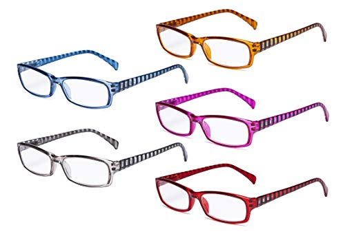 Eyekepper damesleesbril, pak van 5 dames-leesbril met gestreepte beugel