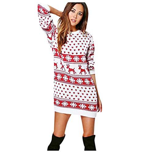 YBWZH 2019 Weihnachtskleider Damen Rundkragen Weihnachtspullover Strickpullover mit Elch Muster Weihnachtspulli Strickkleider Weihnachten Ausgefallene Langärmliges Weihnachtsmotiv Minikleid