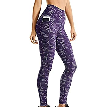 OutTop Womens Workout Leggings High Waisted Tummy Control Seam Lined Yoga Pants with Pockets Stretch Active Tights  Camouflage-Purple M