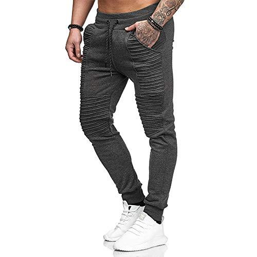 Pantalones de Jogging con Cintura elstica con cordn para Hombre Pantalones Deportivos Ajustados Ajustados a Rayas Personalizados X-Large