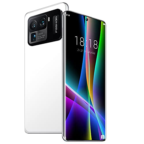 scosao 5G Smartphone Android, Telefono Movil 7.3' HD Pantalla con Triple Cámara 64MP, 16GB + 1T, Batería 6800m, Dual Sim, GPS, Huella Dactilar,White