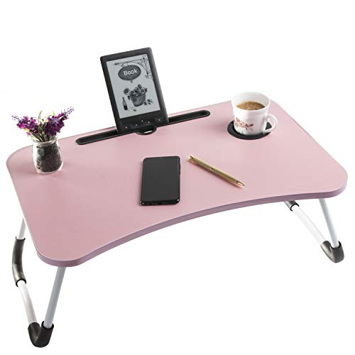Foldable Laptop Table - Laptop Bed Table - Lap Table - Portable Mini Table - Bed Folding Desk - Smartphone Tablet Lap Tray - Notebook Mini Table - Breakfast Tray w Foldable Legs - by Sandine (Pink)