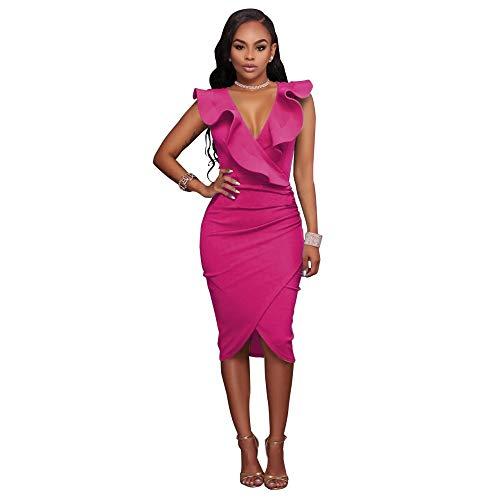 pridesong Aliexus wünscht Amazon Ebay Europa und den USA Standardcode sexy V-Ausschnitt gekräuselte ärmellose Tasche Hüftkleid rosa rot XXL