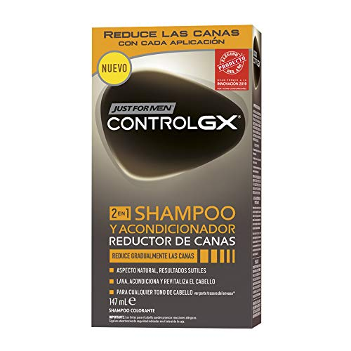 Just For Men, Control GX Champú Reductor de Canas para Hombres, 2en1 champú y acondicionador. Reduce Gradualmente las Canas. Resultado natural. 147 ml