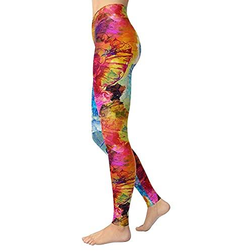 QTJY Pantalones de Yoga Estampados a la Moda para Mujer, Mallas sin Costuras elásticas Deportivas para Correr, Pantalones de Ejercicio Push-up D XL