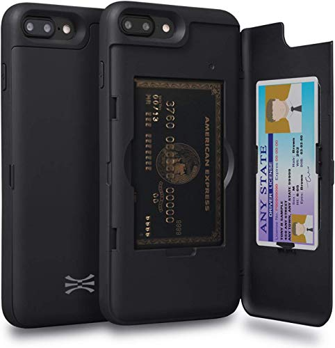 TORU CX PRO Compatible with iPhone 8 Plus/iPhone 7 Plus Case - Protective Dual Layer Wallet with Hidden Card Holder + ID Card Slot Hard Cover & Mirror - Matte Black