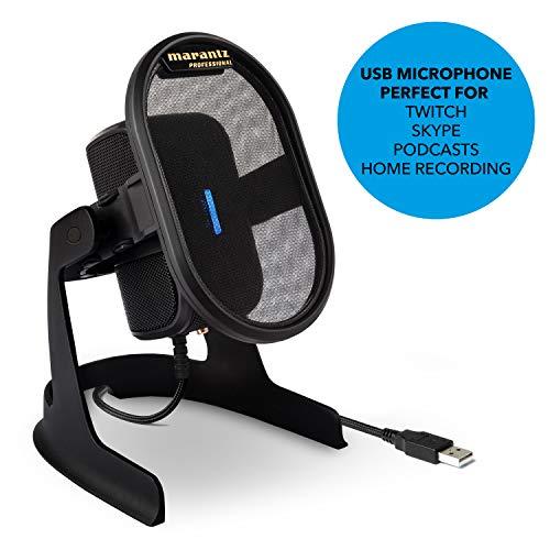 """Marantz Professional Umpire - Micrófono de Condensador USB de Sobremesa sin Instalación de Driver, con Filtro Antipop y Soporte Amortiguado, Captura de Sonido, Broadcast, """"Streaming"""", Twitch, Skype"""