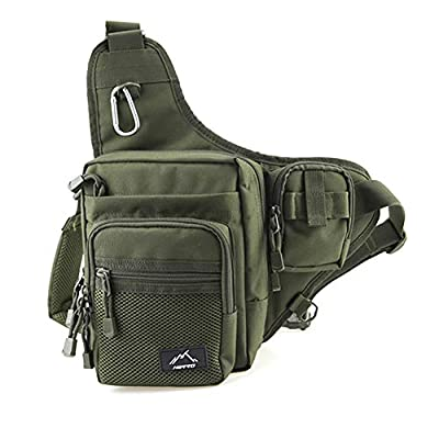 HETTO Fishing Sling Bags Fly Fishing Waist Bag Fishing Lure Bag Waterproof 1000D Nylon Small Chest Pack Shoulder Bag for Outdoor Fishing Tackle Bag by Weihai Letu CO.,LTD