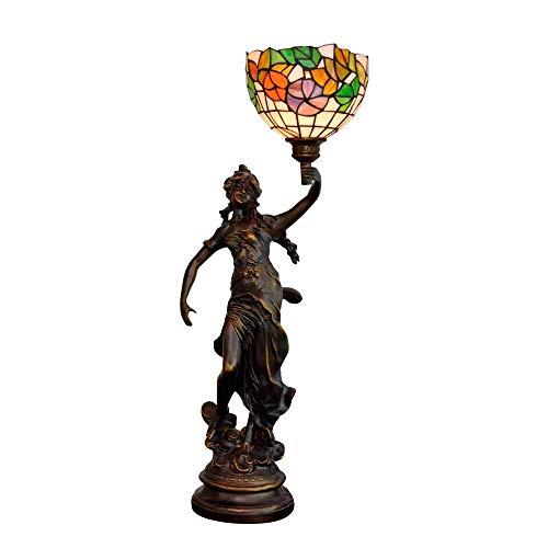 AWCVB 8 Pulgadas Tiffany Mesa De Mesa Lámpara Tintada Niña Tricolor Flor Flor De Moda Mano Lámpara De Noche Vida Vida Vida Tiffany Lámparas Tiffany