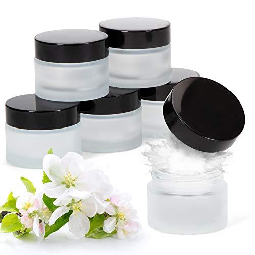 ZEM 6 x Dosen mit Deckel 6 x Creme Dosen ohne Inhalt leer- Glastiegel 50ml geeignet für die Reise aus Glas Cream jar Kosmetik Behälter Mattglas