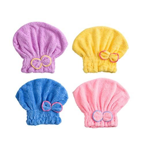 Milisten 4 Pcs Microfibre Cheveux Serviette Wrap Turban Mignon Polaire Bowknot Bonnet de Douche Élastique Bain Cheveux Casquette pour Filles Femmes Sa