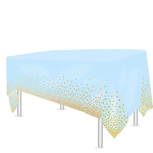 VAINECHAY 2pcs Plastik Party Tischdecken Tischdeko Geburtstag Partytischdecke Blau Hochzeit Weihnachten Ostern Weihnachten Braut Shower Indoor Outdoor, 108*54in (137*274CM)