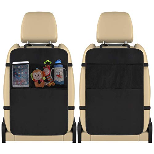 Kick Mats Back Seat Protector 2 Pack Car Back Seat Cover Premium Fabric Odor Free Protect Your Leather Seat with 3 Large Mesh Storage Pocket