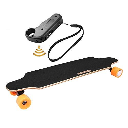 Electric Skateboard Youth Electric Longboard with Wireless Remote Control, 12 MPH Top Speed, 10 Miles Range, 7 Layers Maple Longboard(US Stock) (Lightorange)
