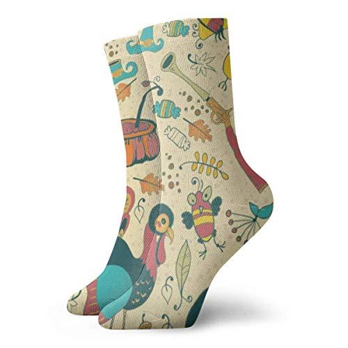 ES Divertidos coloridos calcetines de acción de gracias calcetines calcetines al aire libre para unisex