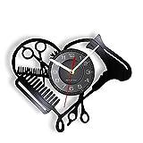 TYFEI Peluquería en Forma de corazón Disco de Vinilo Reloj de Pared Herramientas de salón de Belleza secador de Pelo Tijeras Peine Estilista diseño Reloj silencioso-sin luz