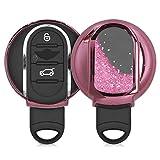 kwmobile Accessoire Clé de Voiture Compatible avec Mini Smart Key 3-Bouton - Coque de Protection en Silicone - étoiles et Paillettes Fuchsia-Rose métallique