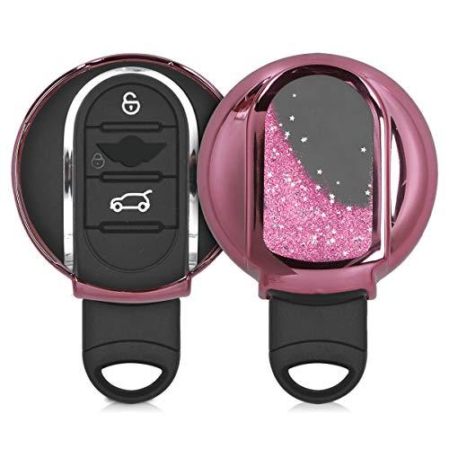 kwmobile Autoschlüssel Hülle kompatibel mit Mini 3-Tasten Smart Key Autoschlüssel - TPU Schutzhülle Schlüsselhülle Cover Schneekugel Sterne Pink Metallic Pink