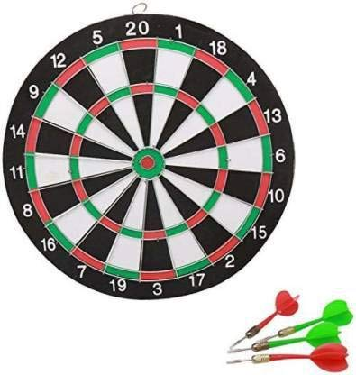 serveuttam Double Faced 12 inch Portable Dart Board with 4 Darts Set for Kids Children. Indoor Sports Games Board Game Dart Board Board Game