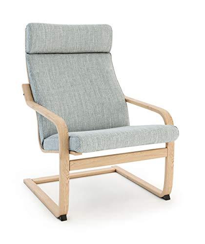 Vinylla Sessel Ersatzbezug Kompatibel mit IKEA Poäng (Cushion Design 2, Polyester - Light Grey)