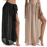 Eicolorte Beach Sarong Pareo Womens Semi-Sheer Swimwear Cover Ups Short Skirt with Tassels...