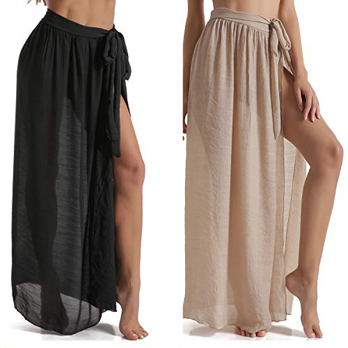 Eicolorte Beach Sarong Pareo Womens Semi-Sheer Swimwear Cover Ups Short Skirt with Tassels (62-Black+Khaki(us 4-12))